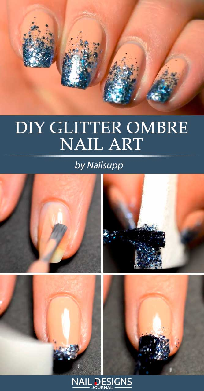 Sparkly Glitter Ombre You Cam Do In 5 Min #glitternails #ombrenails