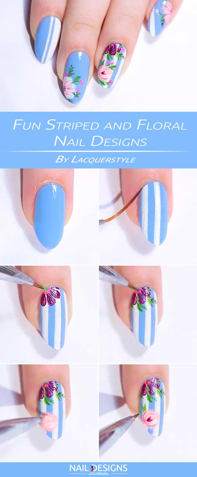 Fun nail designs at home naildesignsjournal fun striped and floral nail designs prinsesfo Image collections