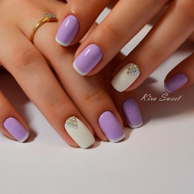 Pastel Purple and White Mani with Gold Accents - Trendy And Cute Gel Nails Cool Designs NailDesignsJournal