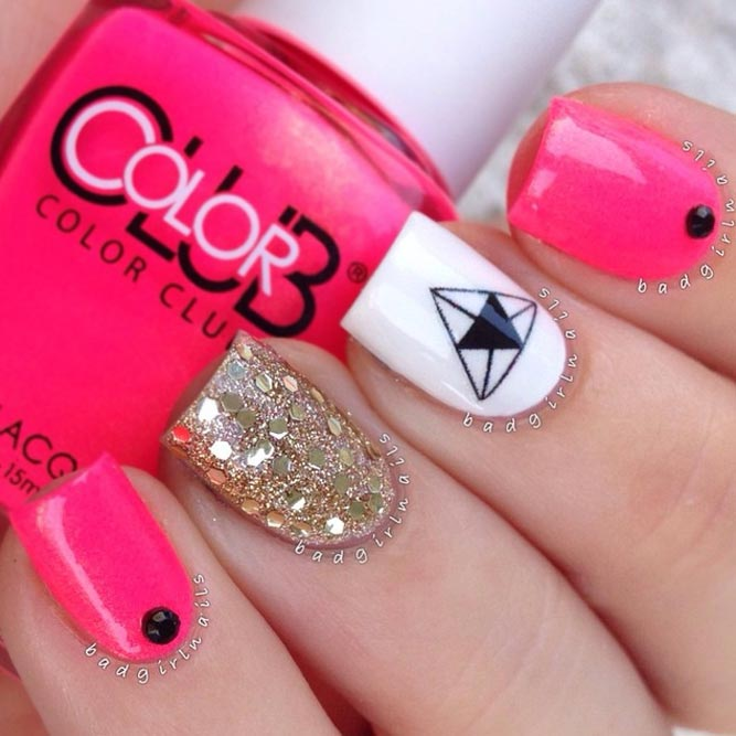 Neon Pink and Gold