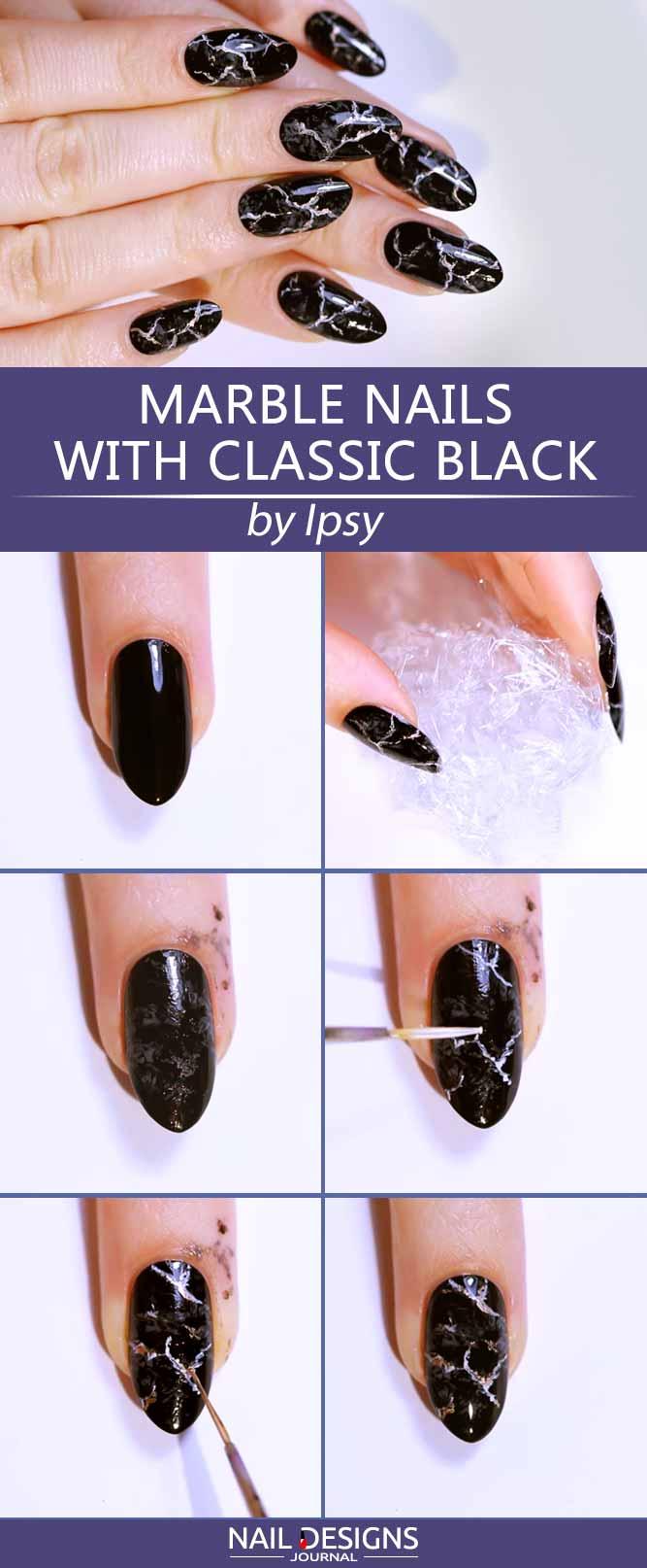 Marble Nails Tutorial With Classic Black #nailsart #marblenails #blacknails