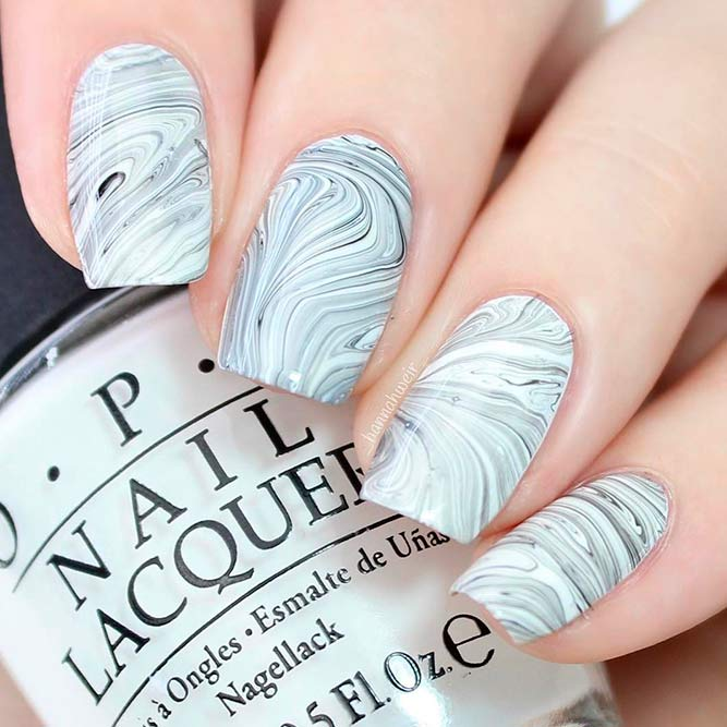 Water Marble Nails Art picture 2