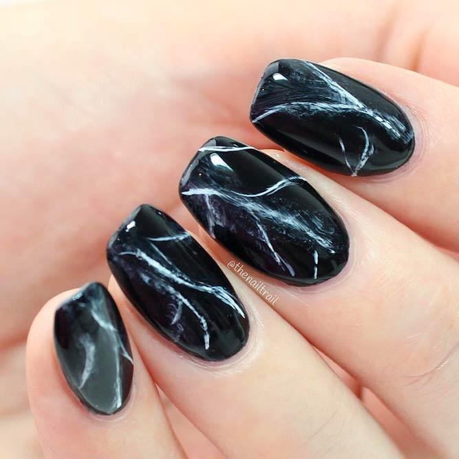 Marble Nails Tutorial With Classic Black #marblenails #nailsart #blacknails