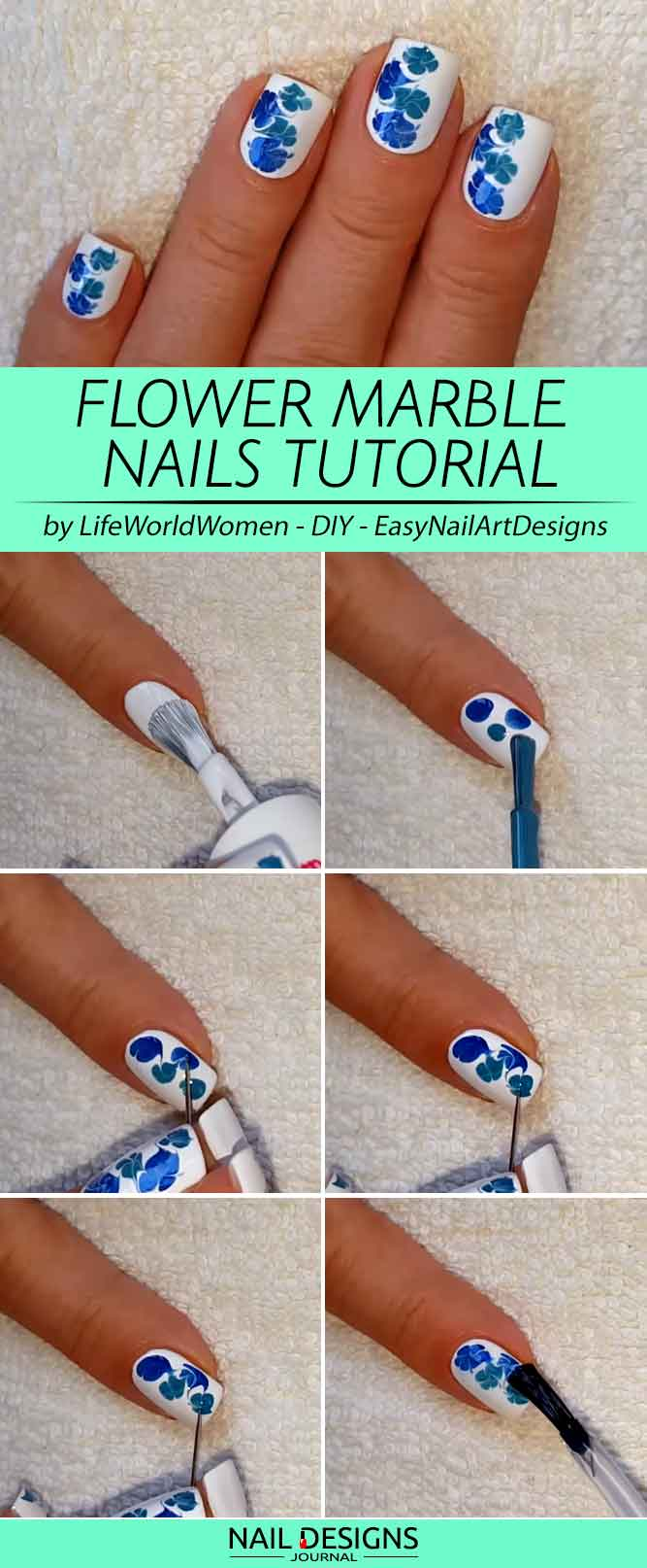 Flower Nails Design With Dry Marble Effect #bluenails #nailsdesign #flowernails