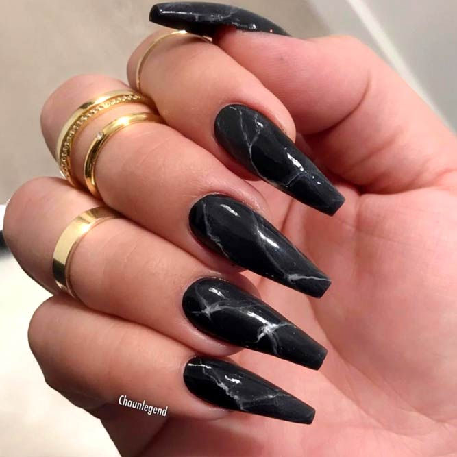 Marble Nails Tutorial With Classic Black #marblenails #nailsdesign #blacknails