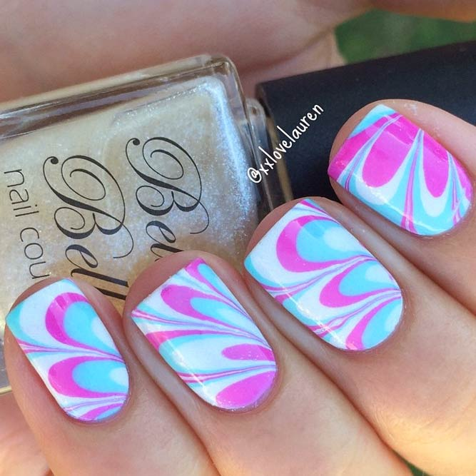 Sweet Colorful Water Marble Nails For Summer Time #marbledesign #nailsart #watermarble