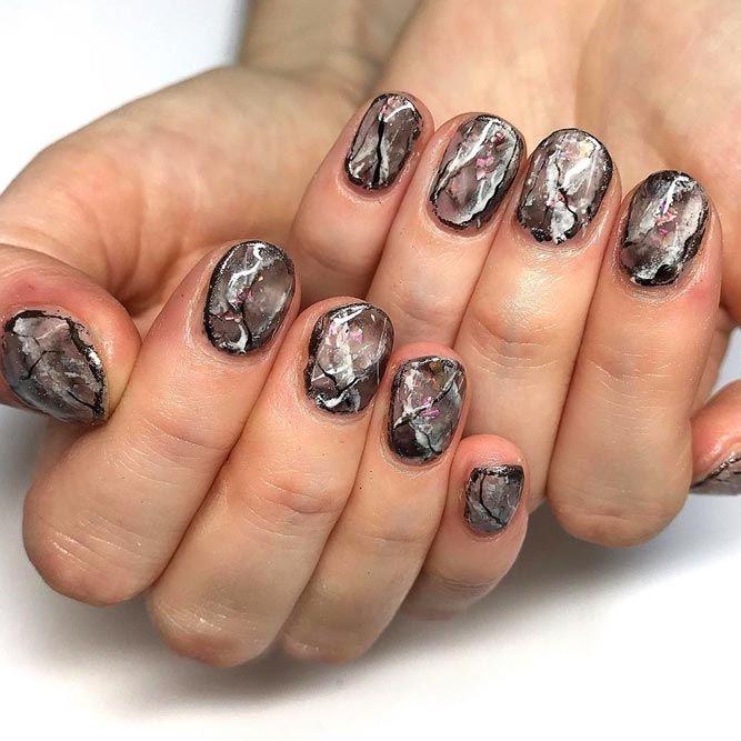 Dark Marble Design for Short Nails