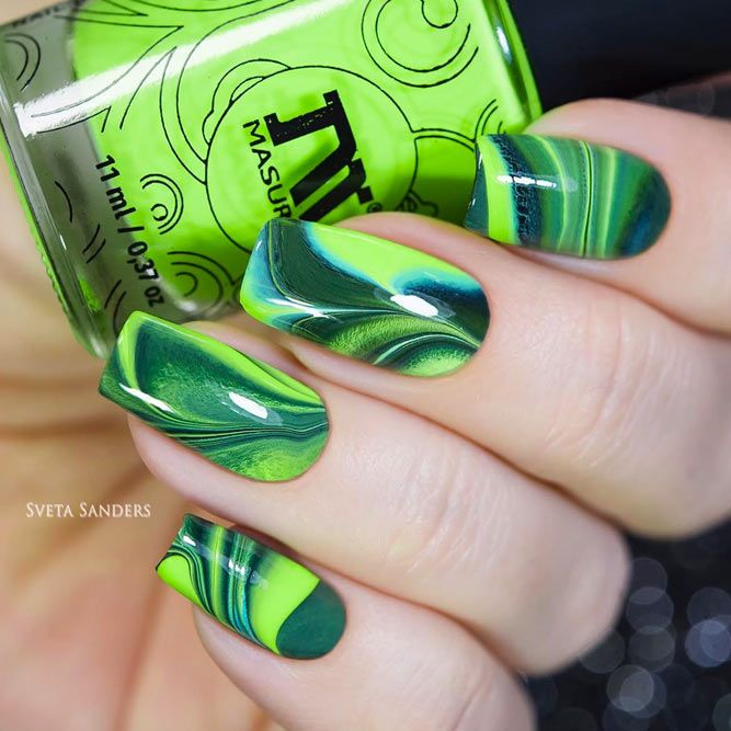 Green Water Marble Nails