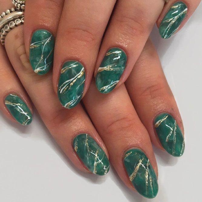 Emerald Quartz - Marble Nails Art