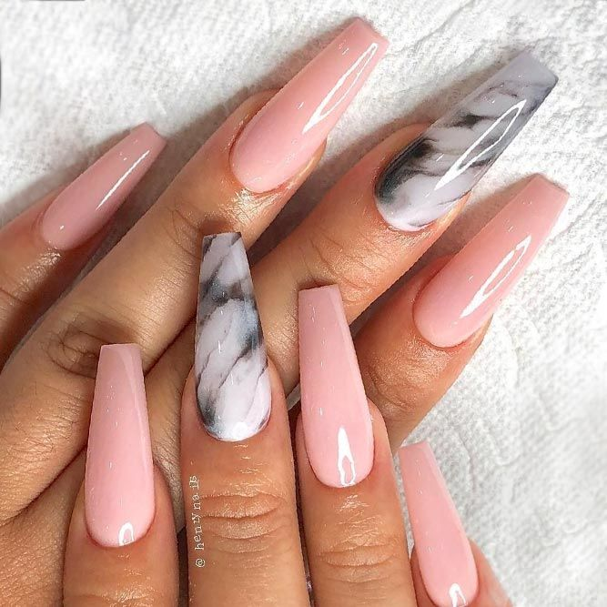 Amazing Nude Nail Designs With Marble Accents