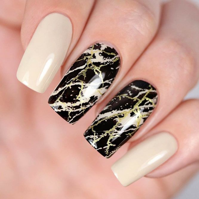 DIY Marble Mani With Stamping for Nude Nails