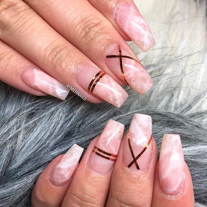 Nude Quartz - Marble Nails Art