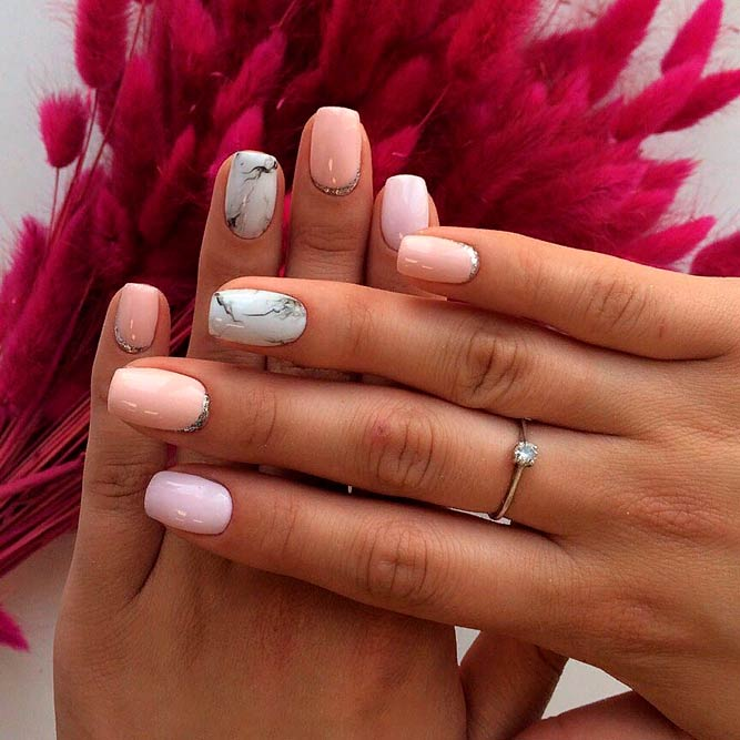 Pastel Nail Designs With Marble Accents #squovalnails #shortnails