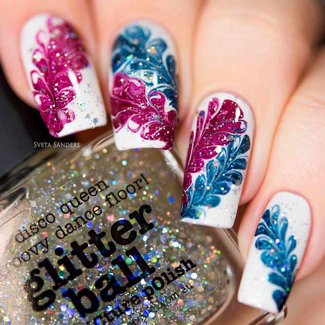 Flower Nails Design With Dry Marble Effect #bluenails #nailsart #flowernails