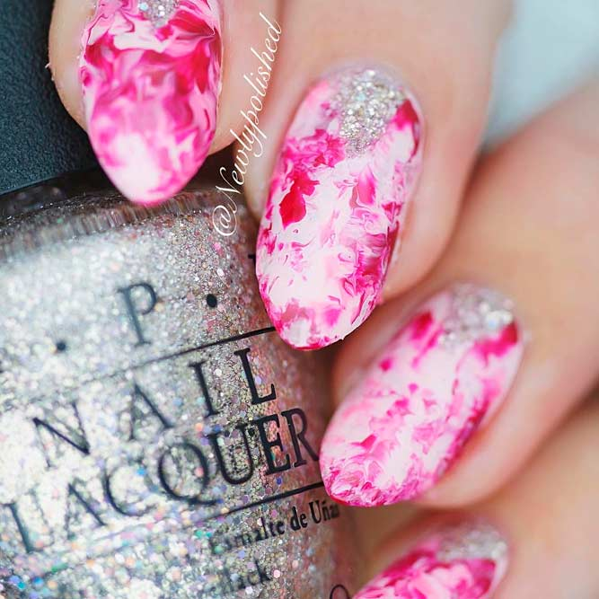 Pink Dry Marble Nails With Glitter #pinknails #glitternails