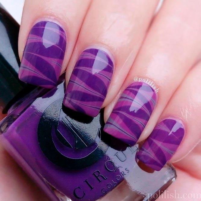 Purple Water Marble Nails Art #shortnails #purplenails