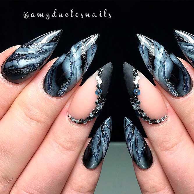 Dark Stiletto Marble Nail Design #longnails #stilettonails #rhinestonesnails