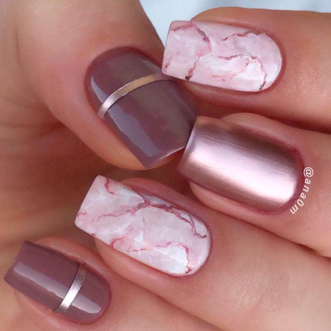 Quartz Marble Nails Art With Glitter #pinknails #squarenails