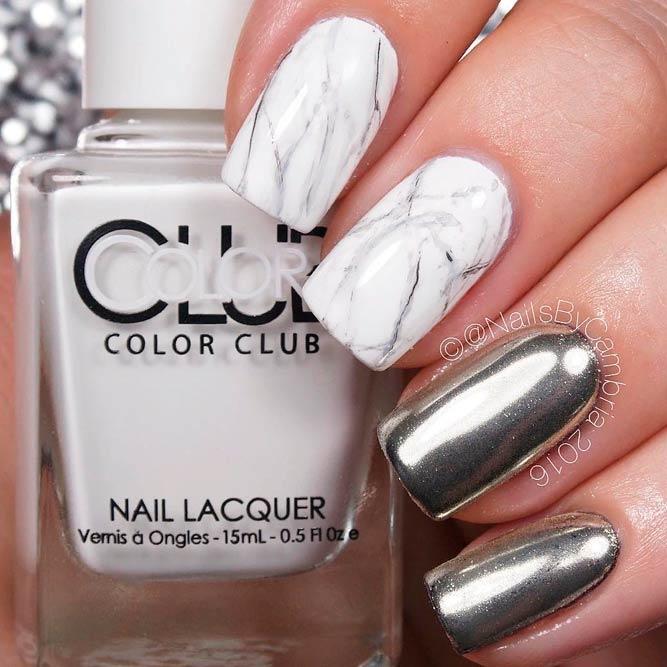 Easy Marble Design With Chrome #chromenails #shortnails