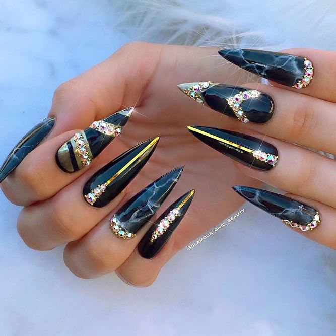 Marble Nails Tutorial With Black Polish