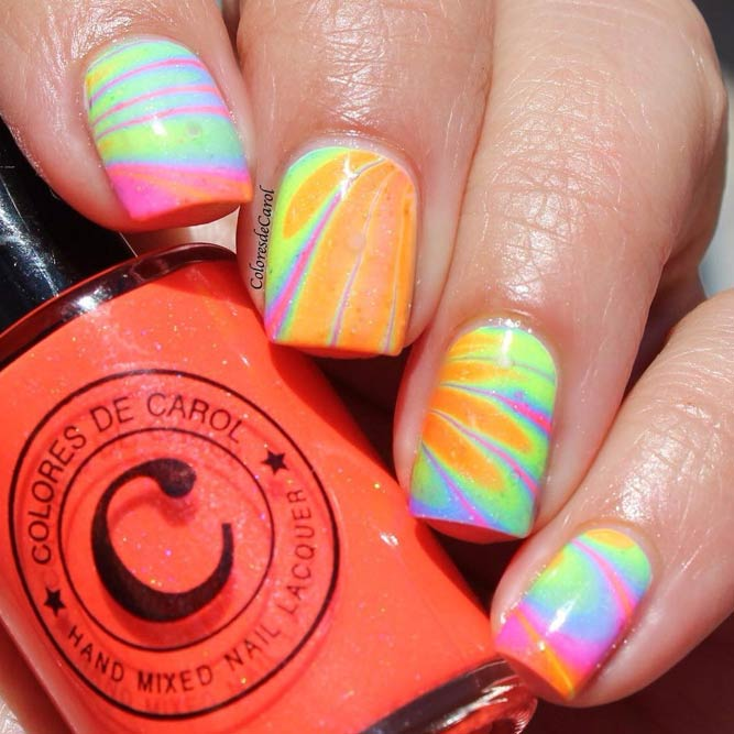 Water Marble Nails Art picture 3
