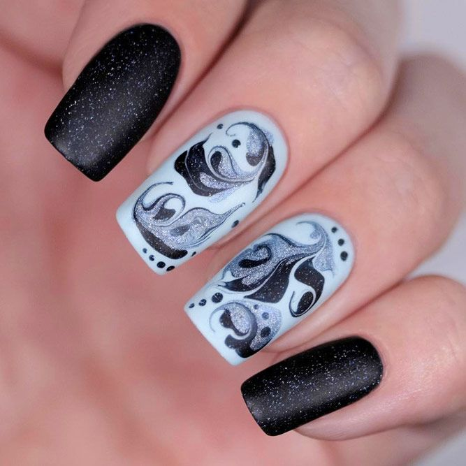 Black Flower Nails Design With Dry Marble Effect