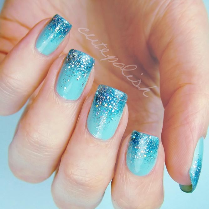 Blue Glitter Ombre Nails For A Pool Party #bluenails #squoval
