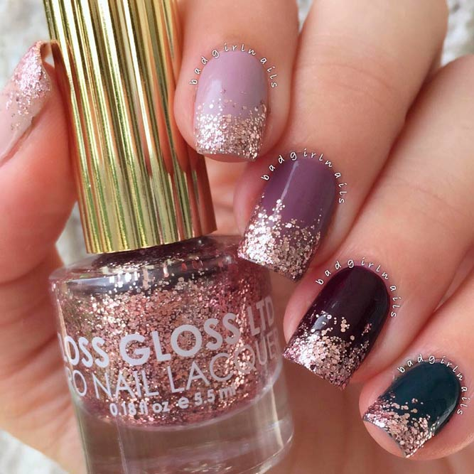 Ombre Glitter Nails Designs in Dark Magenta picture 1