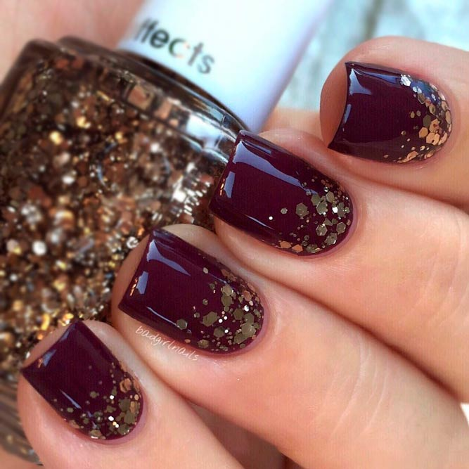 Ombre Glitter Nails Designs in Dark Magenta picture 2