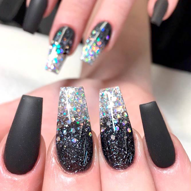 Black And Blue Glitter Ombre Nails