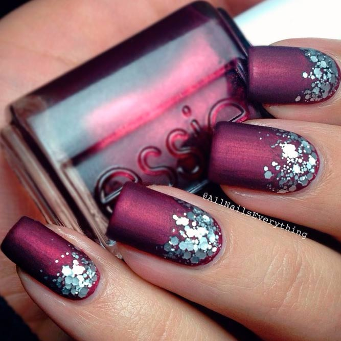 Ombre Glitter Nails Designs in Dark Magenta picture 3