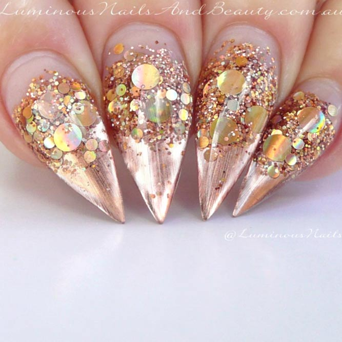 Ombre Glitter In Combination With Gold Metallic Nails #goldnails #stilettonails #metallicnails