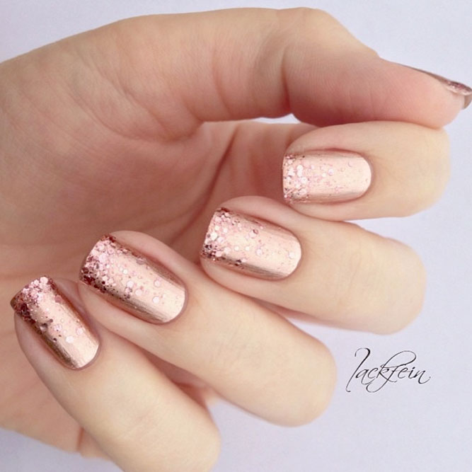 Rose Gold Nail Glitter: Freshest Ombre Glitter Nails Ideas