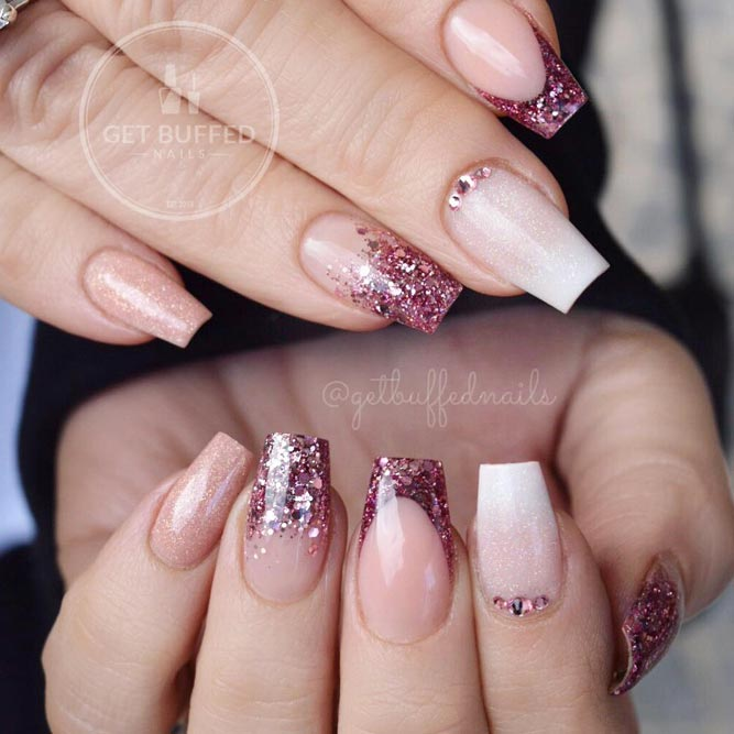 Pink Ombre Glitter With Nude Square Nails #nudenails #squarenails #frenchnails #frenchtips