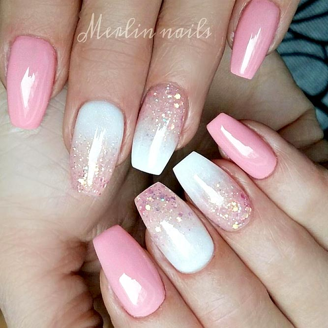 Ombre Glitter Nails Designs In Pink For Sweet Girls #pinknails #squarenails