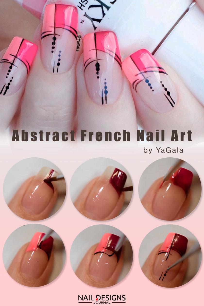 Abstract French Tips Nail Art #easynails #nailtutorial