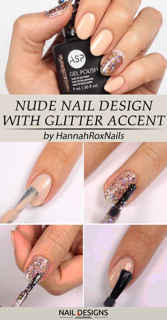 Everyday Nude Nail Design With Glitter Accent