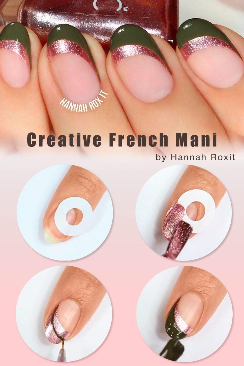 Creative French Mani #easynails #nailtutorial