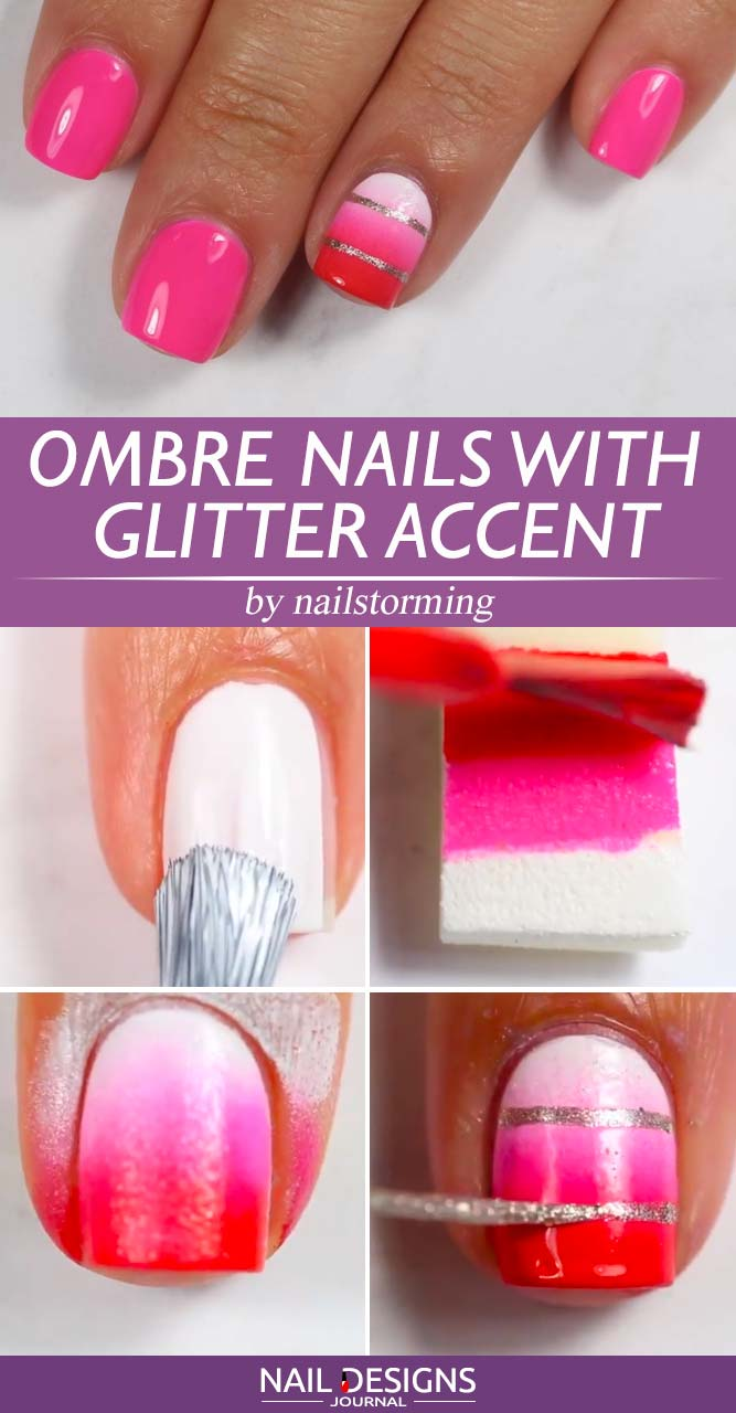 Ombre Nails With Glitter Accent
