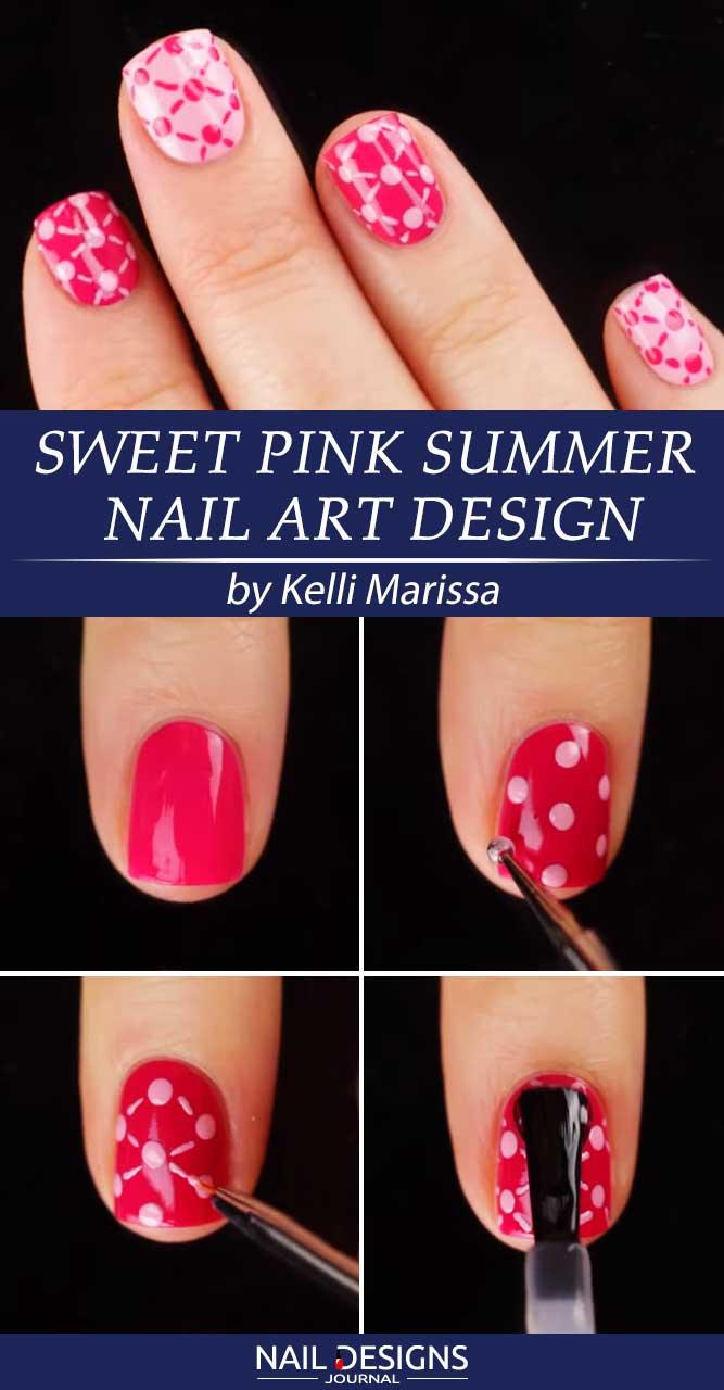 Sweet Pink Summer Nail Art Design