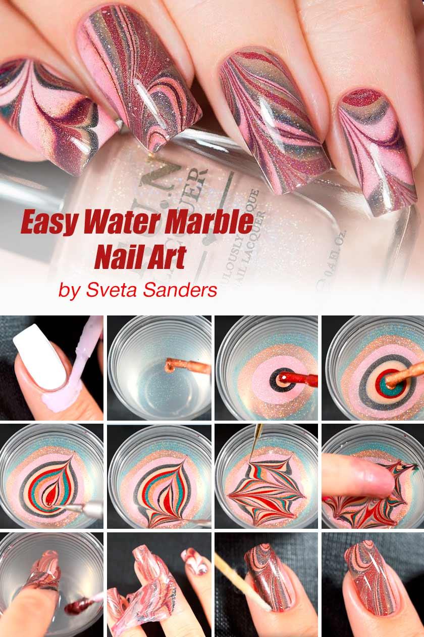 Easy Water Marble Nail Art #easynails #nailtutorial