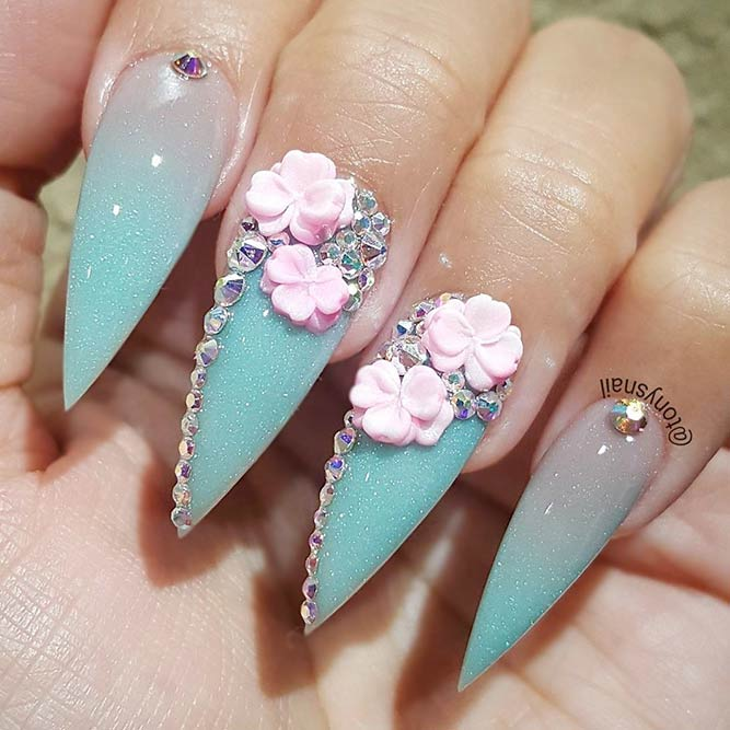 Stiletto Nails Designs with Flowers picture 1