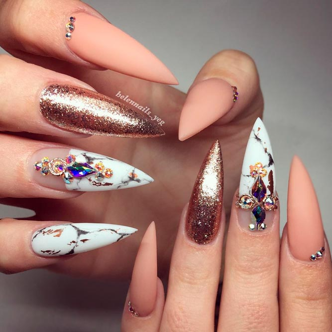 Marble Nail Art Stiletto: 30 Fancy Stiletto Nails Designs To Try
