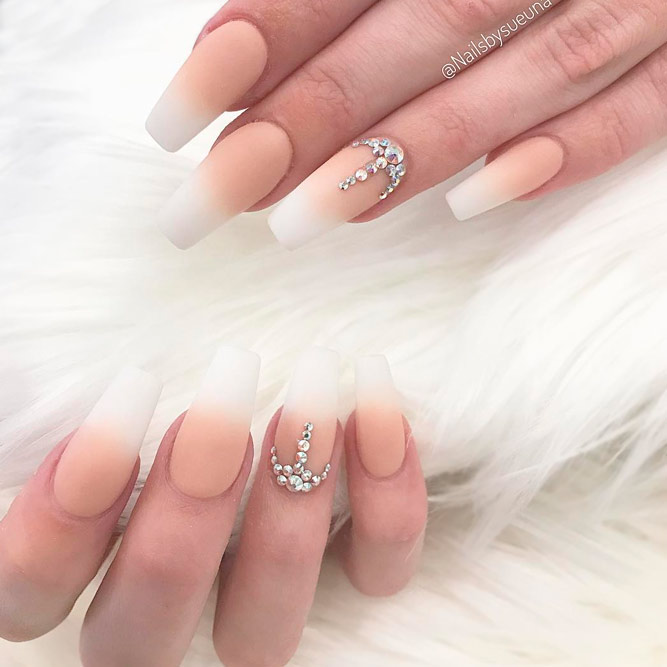 French Ombre Tip on Coffin Shaped Nails picture 2