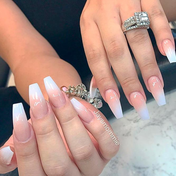 French Ombre Tip on Coffin Shaped Nails picture 3