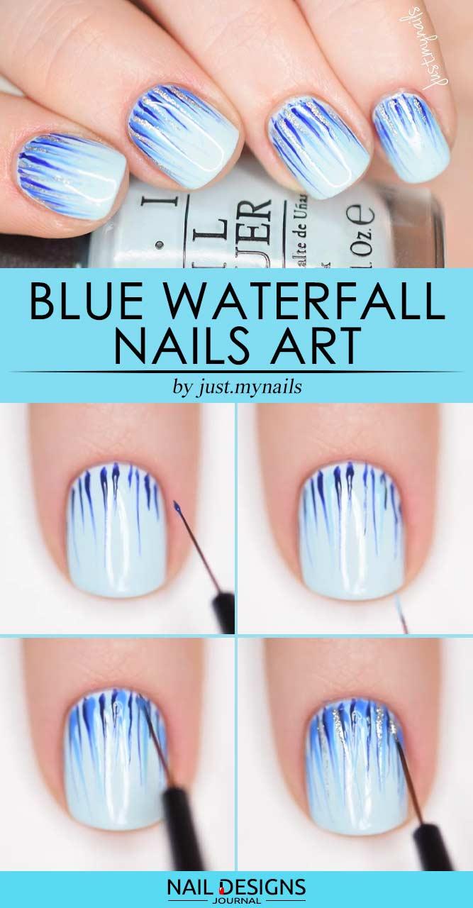 Sweet Blue Waterfall Nails Art