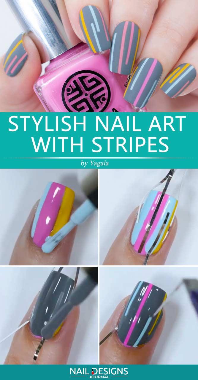 Stylish Nail Art With Stripes