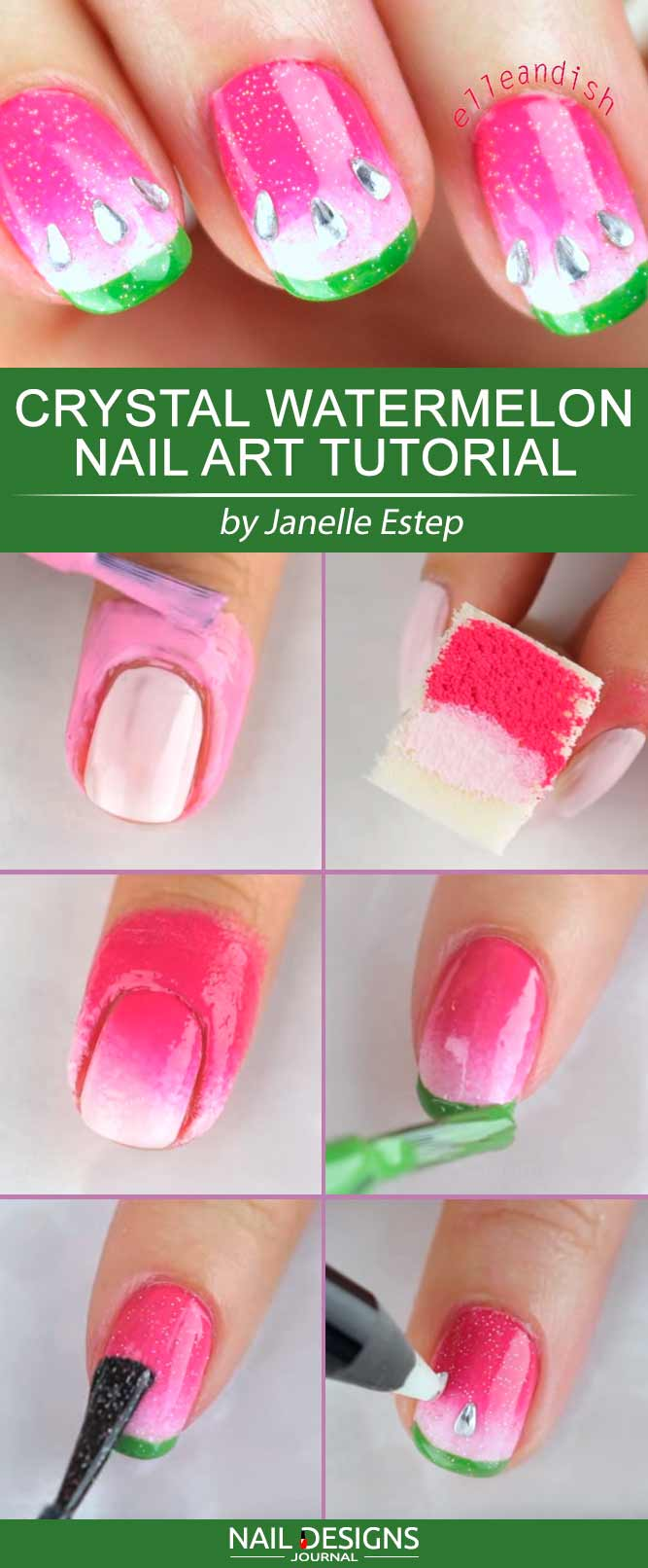 Crystal Watermelon Nail Art #watermelonnails #summernails #cutenails
