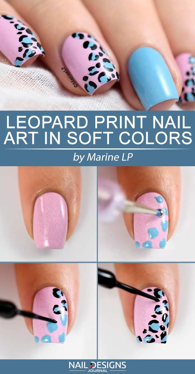 Leopard Print Nail Art In Soft Colors #cutenails #leopardnails #leopardprintnails