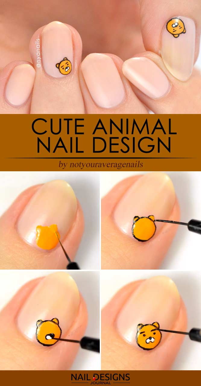 Cute Animal Handmade Nail Design